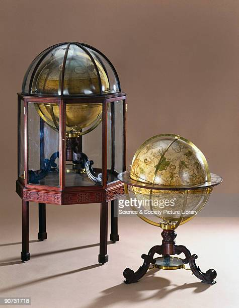 This pair of globes were made by George Adams instrument maker to the king for King George III The terrestrial globe shows the route of Admiral...