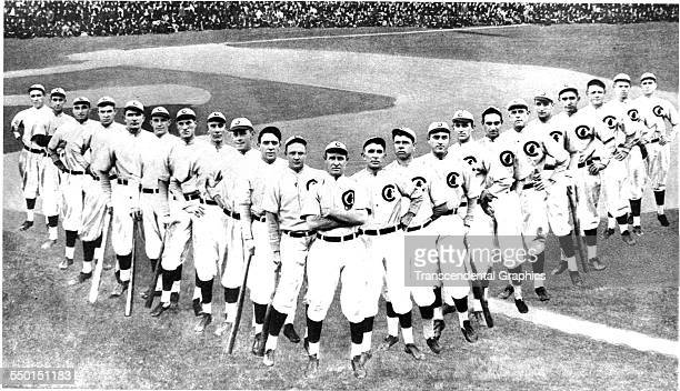 This panoramic collage photo shows the players of the Chicago Cubs Baseball Club Chicago Illinois 1910