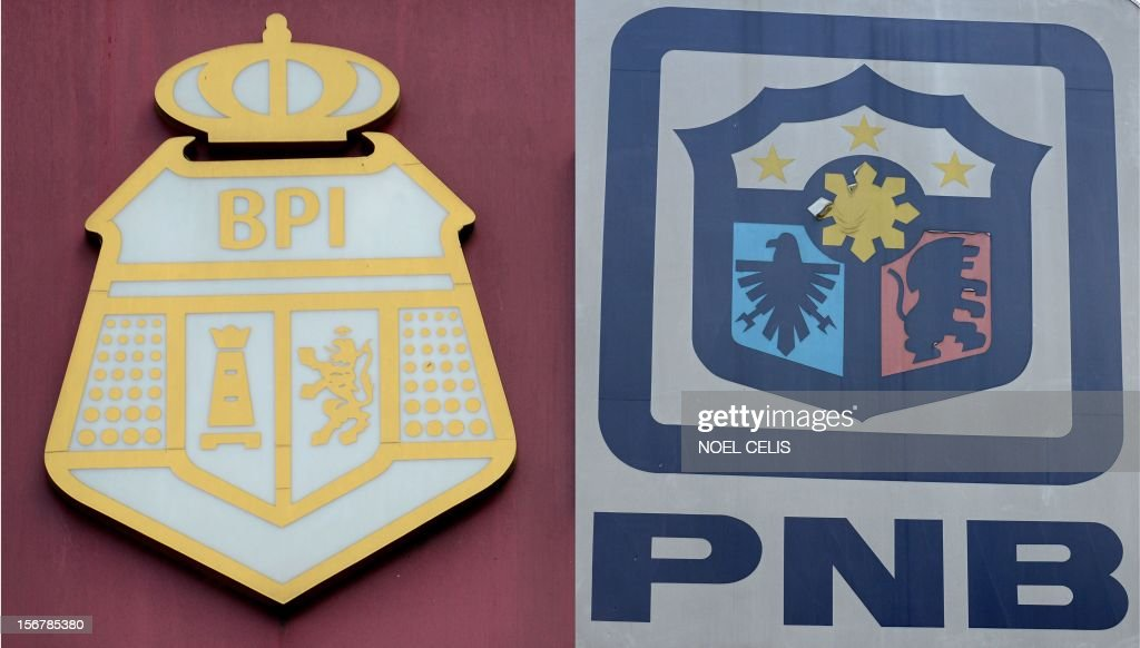 This photo combination shows the logos of the Bank of the Philippine Islands (BPI) (L) and the Philippine National Bank (PNB) (R) taken in Manila on November 21, 2012. Philippine lender Bank of the Philippine Islands said on November 21 it was in talks to acquire local rival Philippine National Bank to create potentially the country's largest financial institution.
