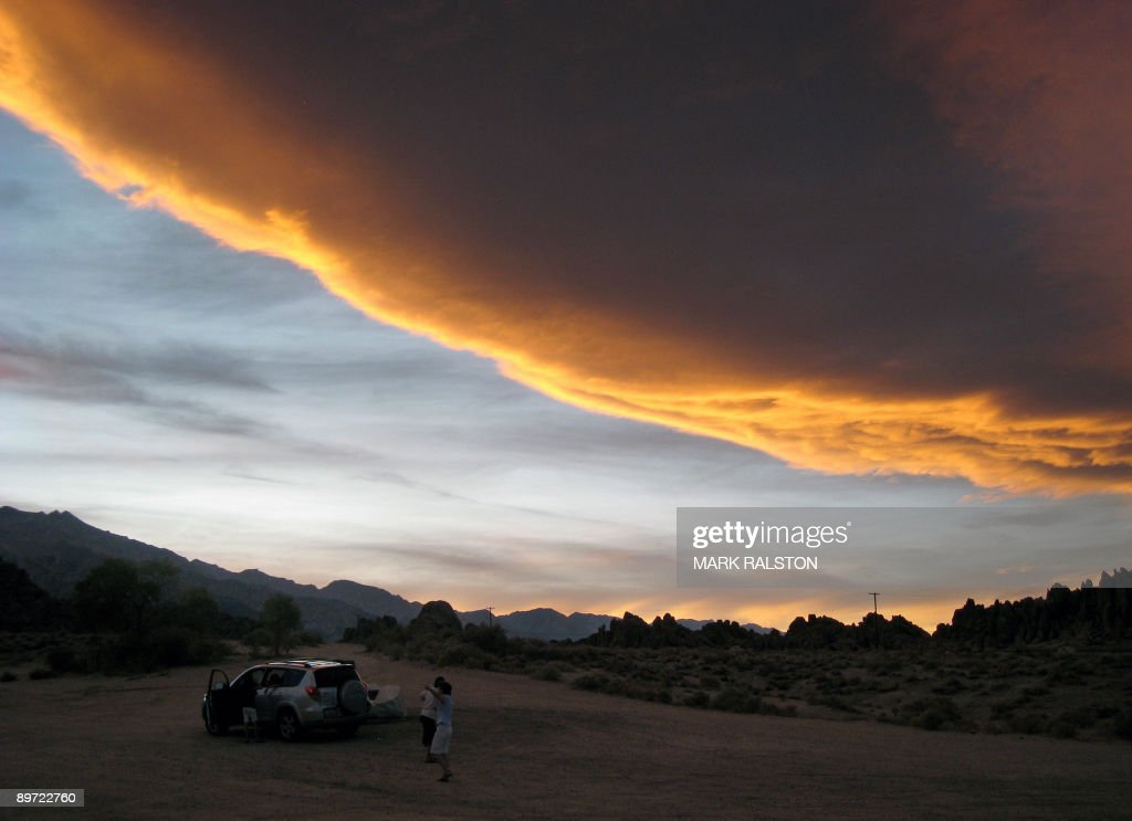 This photo dated August 4 2009 shows clouds over the Alabama Hills and the Sierra Nevada mountains near the town of Lone Pine in central California...
