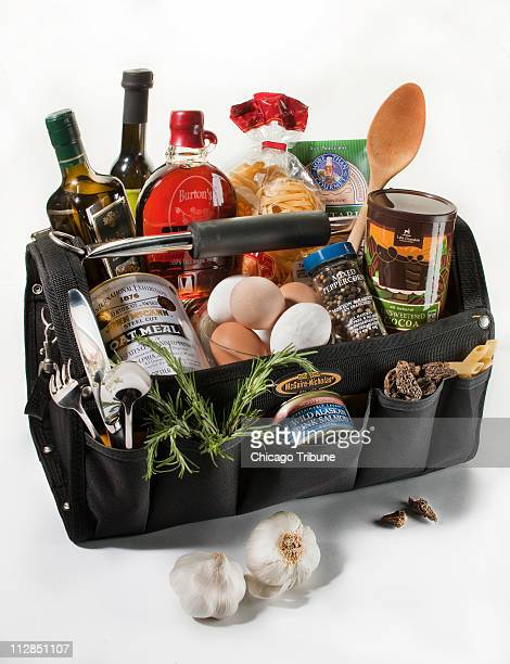 This photo illustration depicts the guy's culinary toolbox and how to stock the pantry and fridge