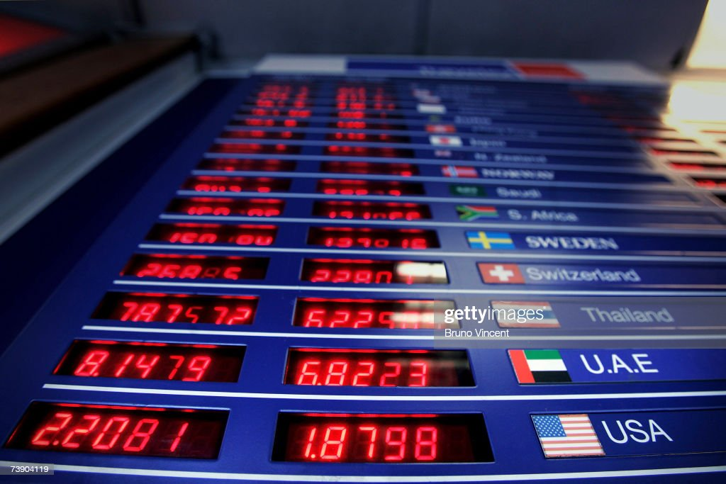 This photo illustration shows a detail view of the BuySell board in a Bureau de Change on April 17 2007 in London The British Pound has hit the two...
