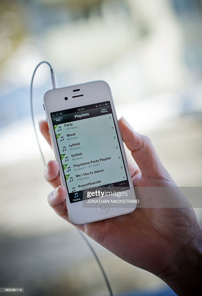 This photo illustration shows the Swedish music streaming service Spotify on March 7, 2013 in Stockholm, Sweden. Sweden is at the forefront of a global recovery in music sales driven by streaming music services such as Spotify. AFP PHOTO/JONATHAN NACKSTRAND
