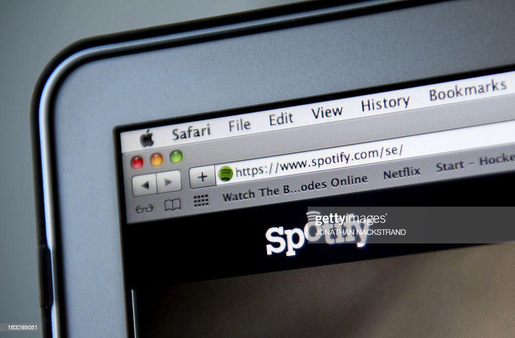 This photo illustration shows the website of Swedish music streaming service Spotify on March 7, 2013 in Stockholm, Sweden. Sweden is at the forefront of a global recovery in music sales driven by streaming music services such as Spotify. AFP PHOTO/JONATHAN NACKSTRAND
