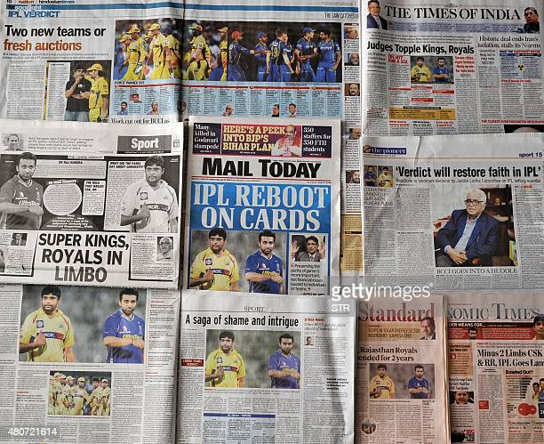 This photo illustration taken in New Delhi on July 15 shows Indian media coverage of the suspension of the Chennai Super Kings and Rajasthan Royals...