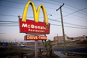 This photo made on April 8 2014 in Guantanamo Bay naval base and Joint Detention Facility shows the McDonald's fastfood restaurant chain sign outside...