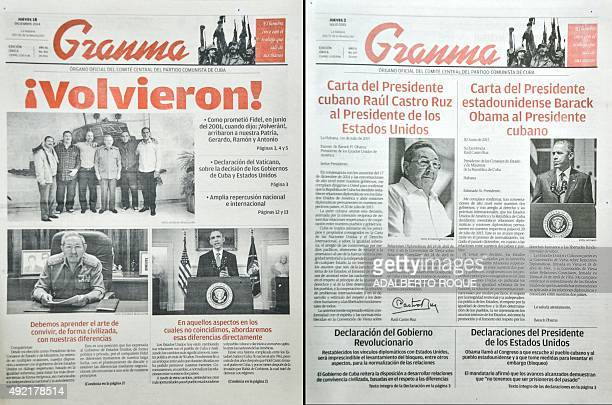 This photo montage of frontpages of Cuban newspaper Granma official publication of Communist Party shows information on the CubaUS relations At left...