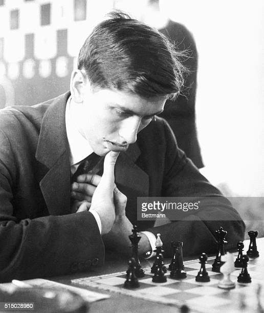 This photo of Bobby Fischer was taken during a chess match in Warsaw Poland His opponent representing the host country is B Sliwa
