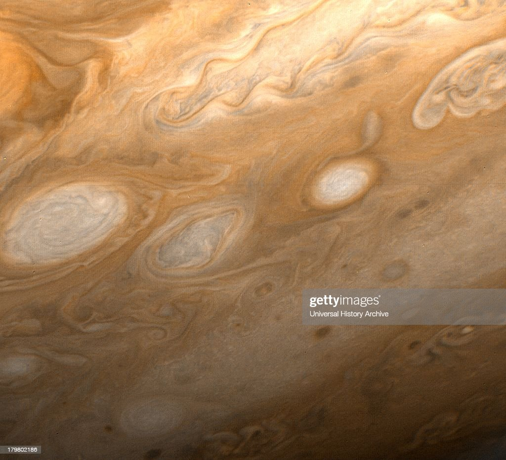 This photo of Jupiter was taken by Voyager 1 on March 1, 1979. The region shown is just to the southeast of the Great Red Spot.