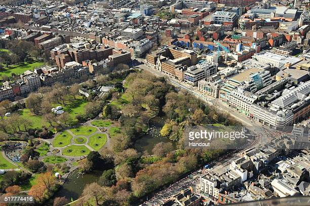 This photo provided by the Air Corps Press Office shows an aerial view during the the military parade marking the 100th anniversary of the Easter...