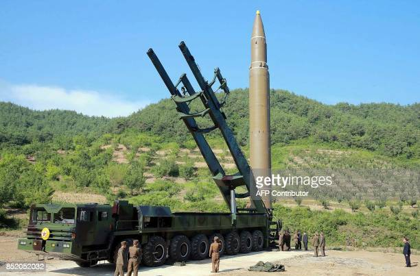 This photo released by North Korea's official Korean Central News Agency on July 6 2017 shows North Korean ICBM which was launched on July 4 2017...