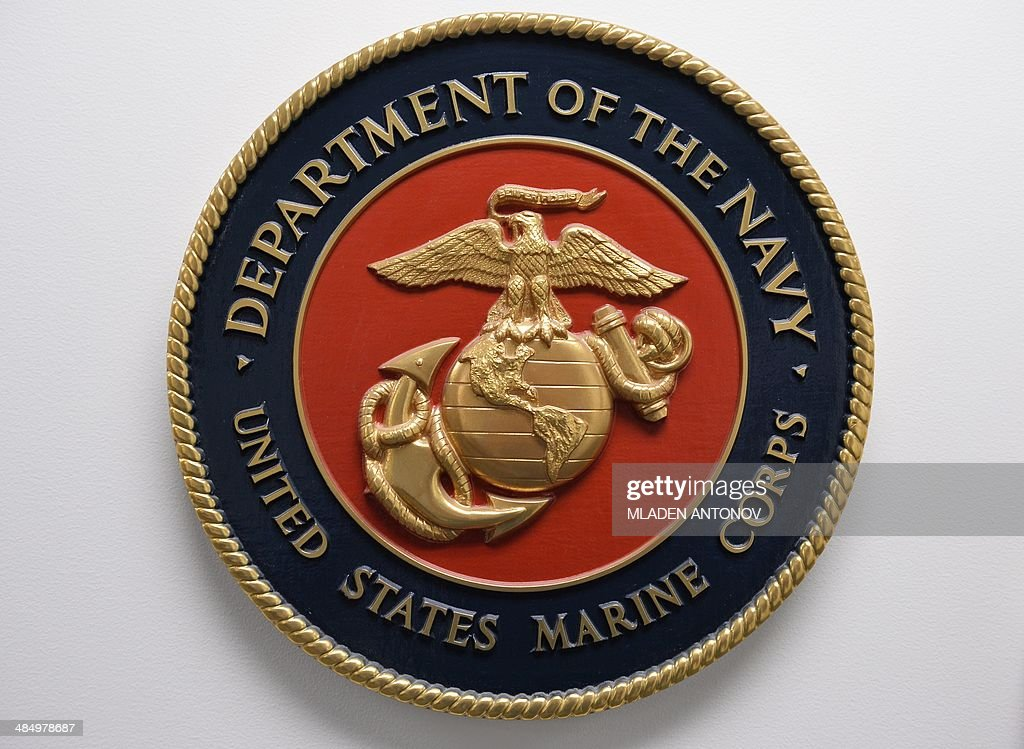 This photo reviewed by the US military shows the United States Marine Corps emblem hanging on a wall at the Joint Detention Forces Headquarters at...