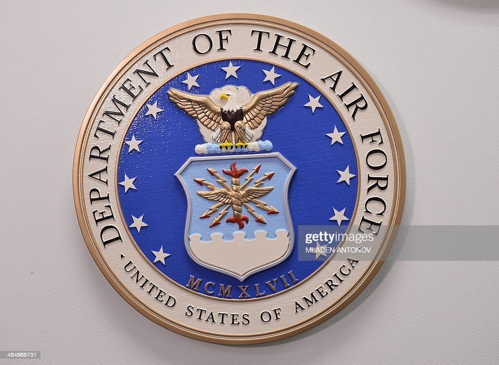 This photo reviewed by the US military shows the United States Department of the Air Force emblem hanging on a wall at the Joint Detention Forces...