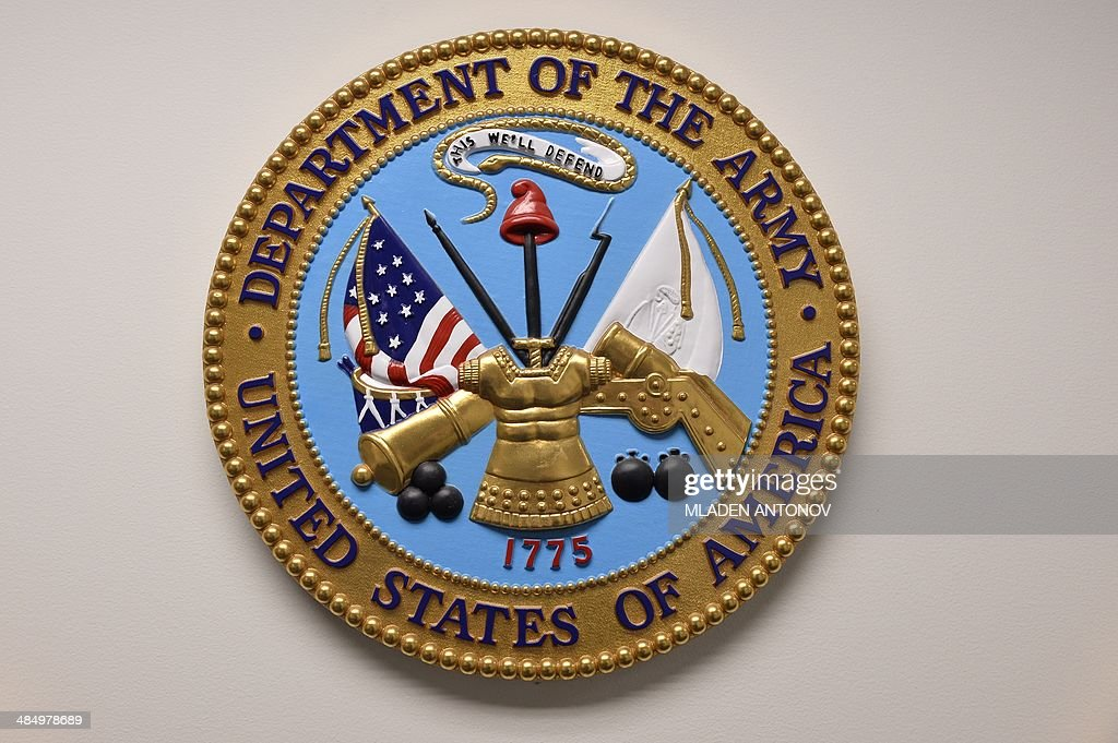 This photo reviewed by the US military shows the United States Department of the Army emblem hanging on a wall at the Joint Detention Forces...