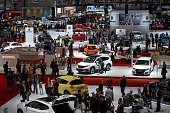 This photo shows a general view during the press day of the Geneva International Motor Show on March 3 2015 in Geneva The show runs through March 5...