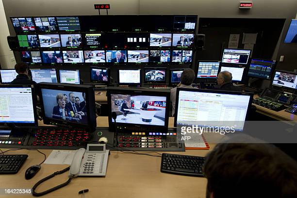 This photo shows a technical editing room for new programmes at the Flemish public broadcasting company VRT during the inauguration of the new studio...