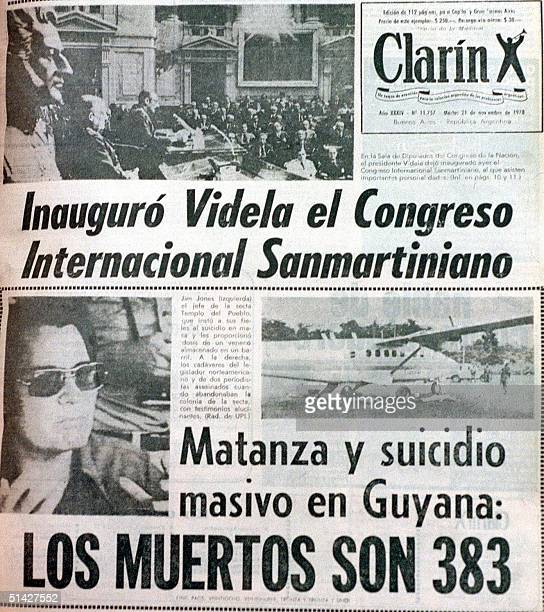 This photo shows the 21 November 1978 cover of Clarin on the People's Temple mass suicide under Jim Jones Portada del diario Clarin del 21 de...