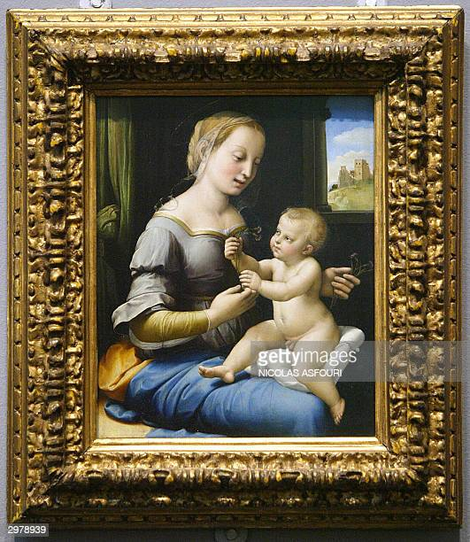 This photo shows the Madonna of the Pinks painted by Raphael at the Nationa Gallery in London 13 February 2004 The gallery and the Duke of...