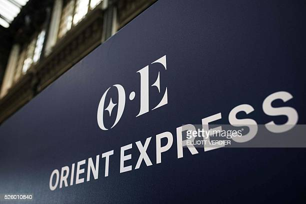 This photo shows the new Orient Express logo as the train is standing at the plateform during the inauguration of 'La table de l'Orient Express'...