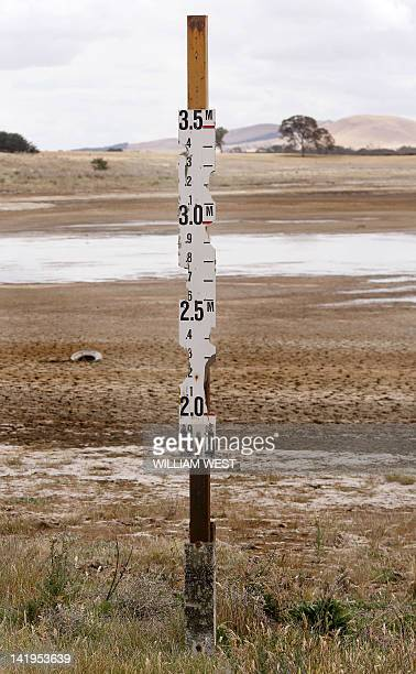 This photo taken 16 November 2006 shows a water depth indicator at the empty Green Hill Lake outside the small rural town of Ararat some 170 kms west...