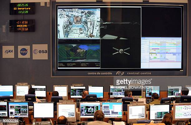 This photo taken April 3 2008 shows a giant screen in the control room of the National Centre for Space Studies in Toulouse in southwestern France...