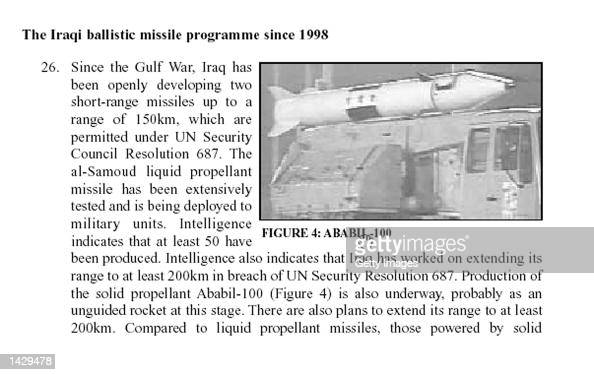 This photo taken from the British government's 50page report on Iraq's weapons of mass destruction capability released September 24 2002 shows an...