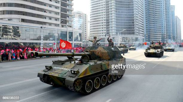This photo taken on April 15 2017 and released from North Korea's official Korean Central News Agency on April 17 shows Korean People's Army...