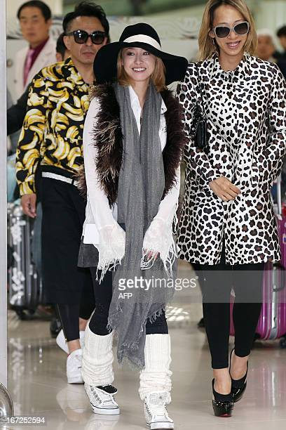This photo taken on April 16 2013 shows Japanese actress Sawajiri Erika arriving at South Korea's main international airport for a visit to promote...