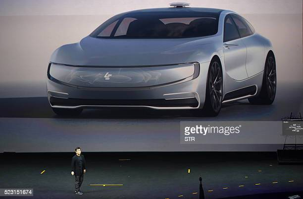 This photo taken on April 20 2016 shows Chinese internet company LeEco Holdings Ltd unveils its internet electric battery driverless concept car...
