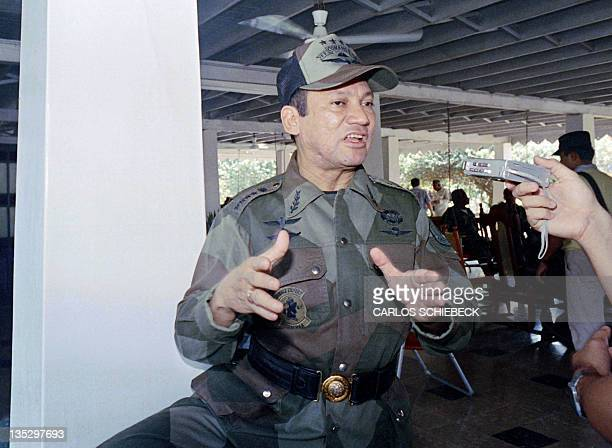This photo taken on April 22 1988 in Chepo central Panama shows General Manuel Antonio Noriega during an interview with an AFP reporter Former...