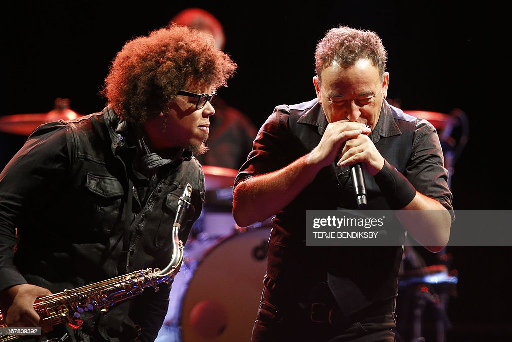 This photo taken on April 30, 2013 shows US singer Bruce Springsteen and The E-street band having their second concert at Telenor Arena in Oslo. AFP PHOTO/ Terje Bendiksby / SCANPIX NORWAY /NORWAY OUT