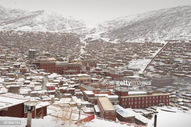 This photo taken on April 5 2013 shows hundreds of small houses where monks and nuns live at Seda Monastery the largest Tibetan Buddhist school in...