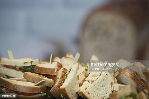 This photo taken on April 8 in Paris shows glutenfree sandwiches displayed during the 'Le salon des allergies alimentaires et des produit sans' / AFP...