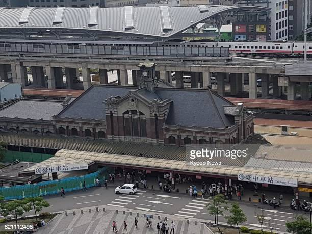 This photo taken on April 9 shows a bird'seye view of the old train station in Taichung central Taiwan The station was designated a historic site in...