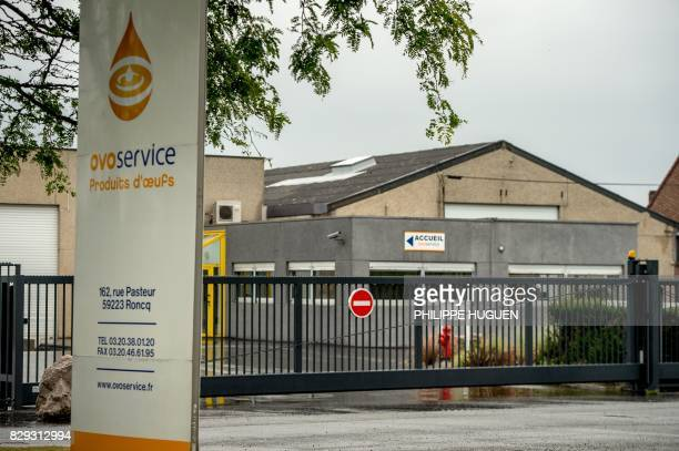 This photo taken on August 10 2017 in Roncq northern France shows the offices of Ovoservice one of five egg production companies according to the...