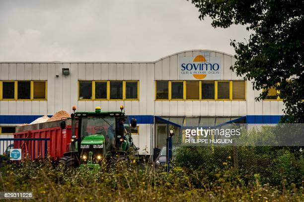 This photo taken on August 10 2017 in Vimy northern France shows the offices of Sovimo one of five egg production companies according to the Ministry...