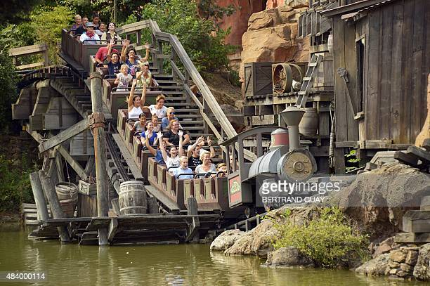 This photo taken on August 13 2015 shows the Big Thunder Mountain attraction at The Walt Disney Studios park at Disneyland Paris in MarnelaVallee AFP...