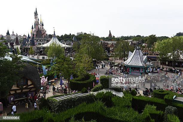 This photo taken on August 13 2015 shows the views from the Alice's Curious Labyrinth attraction at The Walt Disney Studios park at Disneyland Paris...