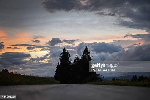 This photo taken on August 14 2015 shows fir trees at sunset near the CreuxduVan nature reserve Western Switzerland on August 14 2015 On August 14...