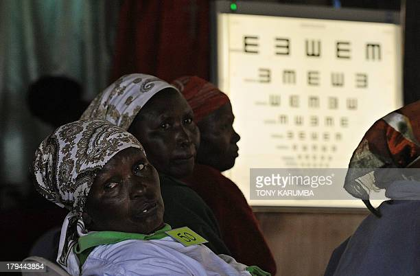 This photo taken on August 28 in Kianjokoma village near Kenya's lakeside town of Naivasha shows people with eye problems as they take part in an...