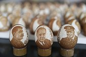 This photo taken on August 31 2015 shows egg sculptures themed in China's WWII anniversary created by elderly farmer Li Aimin in Zouping east China's...