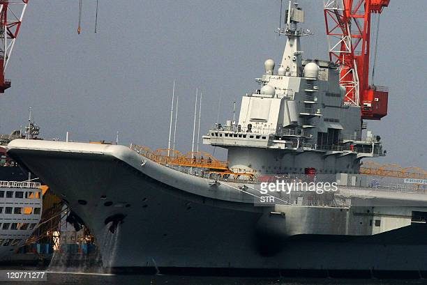 This photo taken on August 4 2011 shows China's first aircraft carrier the former Soviet carrier Varyag which China bought from Ukraine in 1998 at...