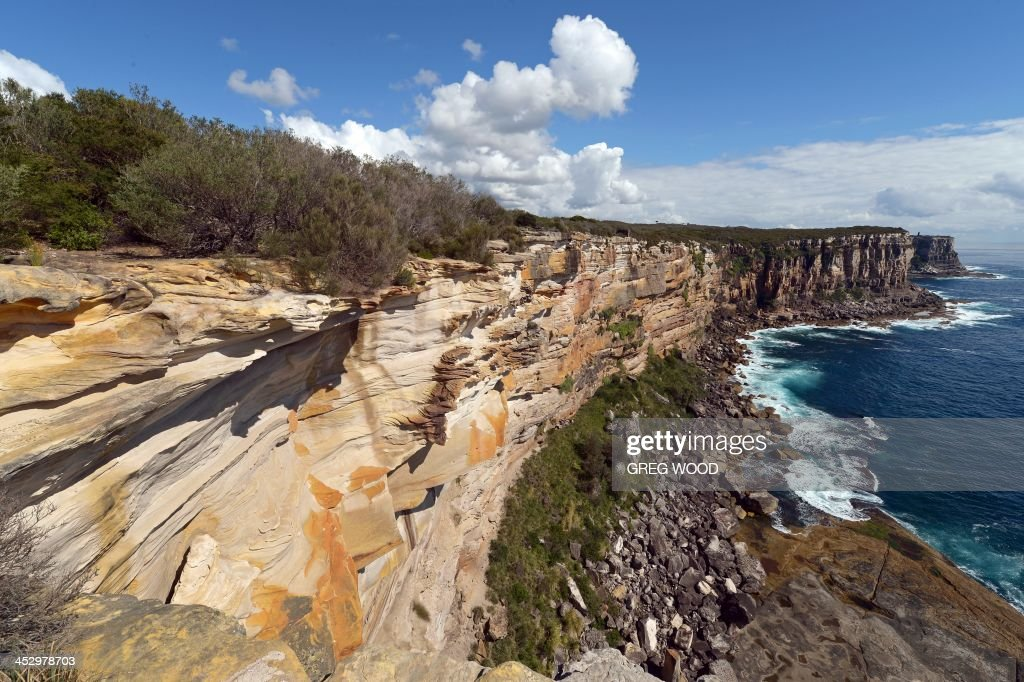 This photo taken on December 1, 2013 shows the varied colours of weathered sandstone at North Head headland near the entrance to Sydney Harbour.