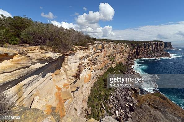 This photo taken on December 1 2013 shows the varied colours of weathered sandstone at North Head headland near the entrance to Sydney Harbour AFP...