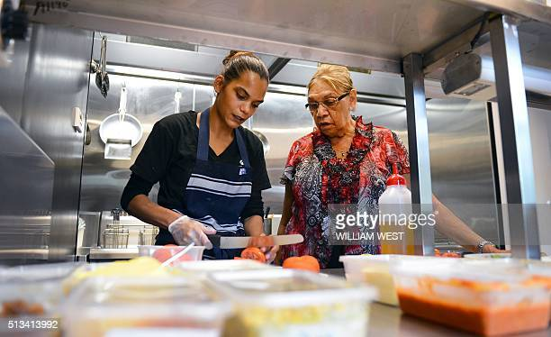 This photo taken on December 12 2012 shows Beryl van Oploo a selfproclaimed 'foodie' from central Australia's Gamilaroi people speaking with...