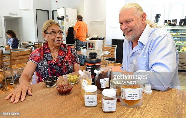 This photo taken on December 12 2012 shows Beryl van Oploo a selfproclaimed 'foodie' from central Australia's Gamilaroi people sampling produce from...