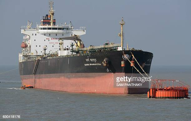 This photo taken on December 21 2016 shows the 'Swarna Brahmaputra' oil products tanker at the India's Adani Port Special Economic Zone in Mundra The...