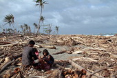This photo taken on December 29 2012 shows a father and his children collecting coconuts among debris swept ashore at the height of Typhoon Bopha in...