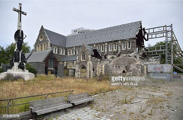 This photo taken on December 30 2014 shows the ruins of the old Christchurch Cathedral badly damaged in the 2011 earthquake in Cathedral Square in...