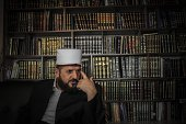 This photo taken on February 11 2014 shows Kosovo's top radical cleric the imam of the Grand Mosque in Pristina Shefqet Krasniqi One of Kosovo's...
